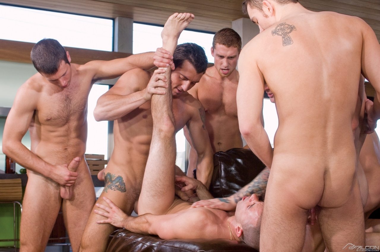 Falcon Studios: Landon Conrad, Spencer Fox, Dylan Hauser, Jimmy Durano and Connor Maguire (Hungover)